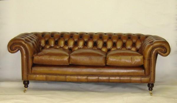 Burlington Chesterfield 3 Sitzer Sofa aus Leder